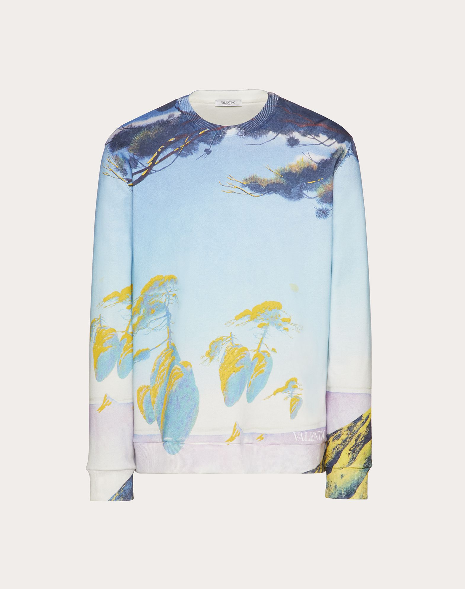 LONG FLOATING ISLAND PRINT SWEATSHIRT