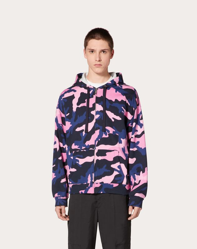 CAMOUFLAGE HOODED SWEATSHIRT WITH ZIPPER