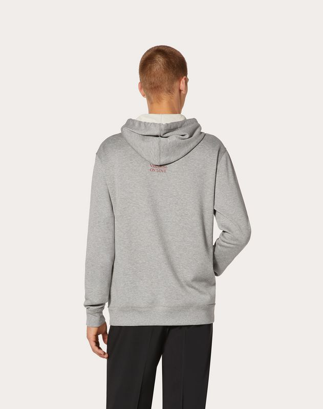 VALENTINO ON LOVE HOODED SWEATSHIRT WITH ZIP