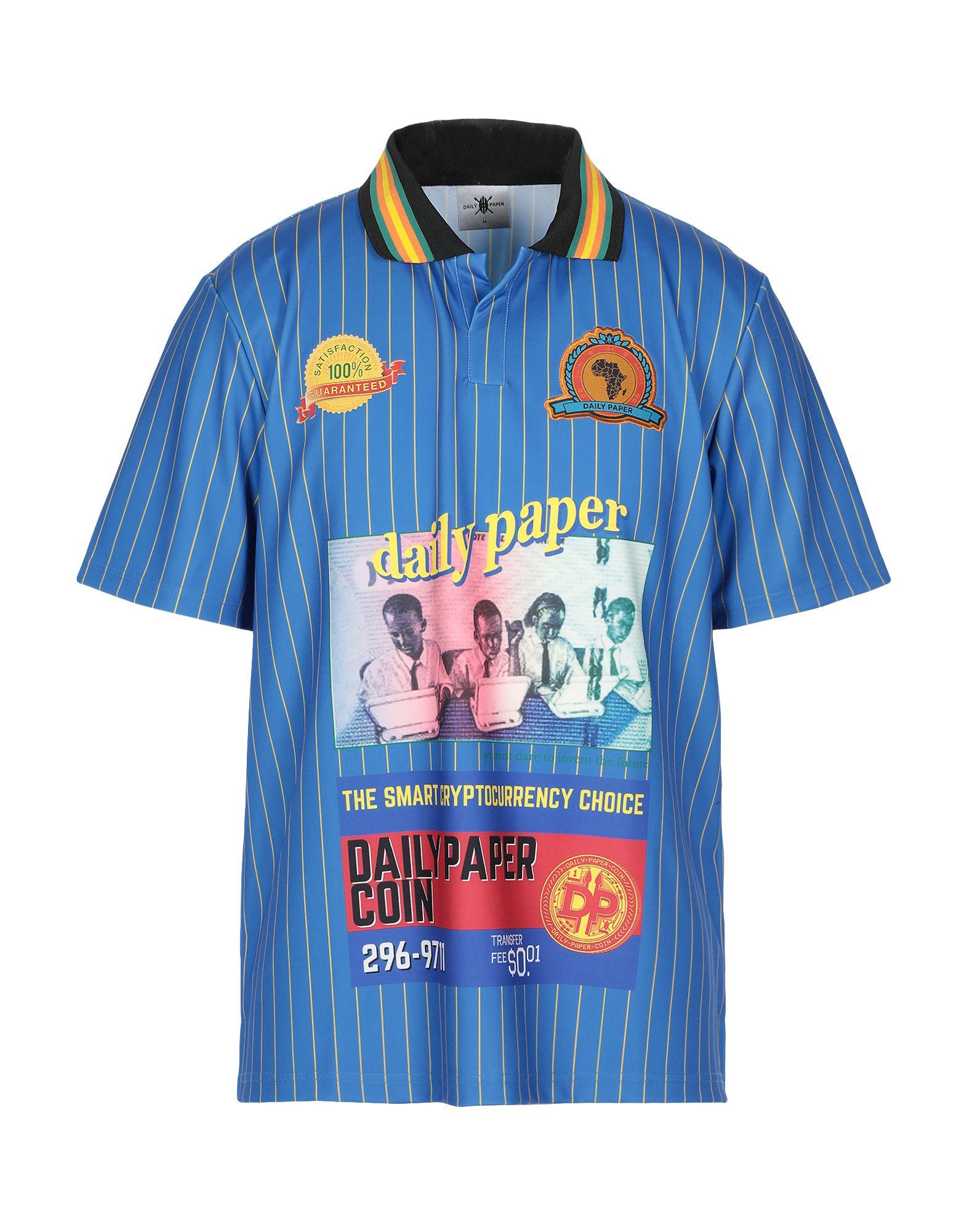 《セール開催中》DAILY PAPER メンズ ポロシャツ ブルー M ポリエステル 88% / ポリウレタン 12%