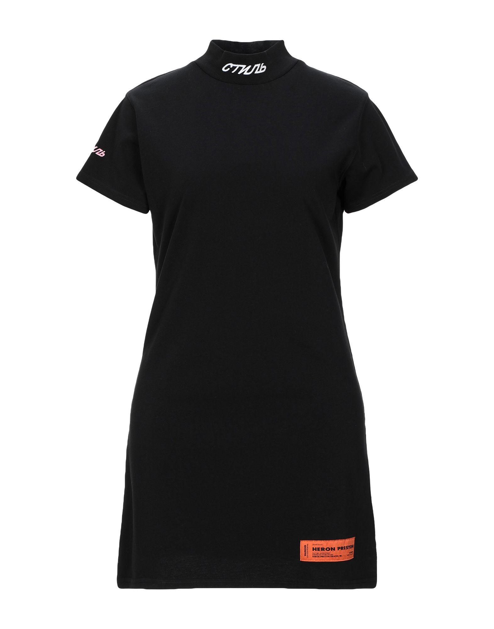 HERON PRESTON Short dresses. jersey, logo, embroidered detailing, solid color, turtleneck, short sleeves, no pockets, no fastening, unlined. 100% Cotton