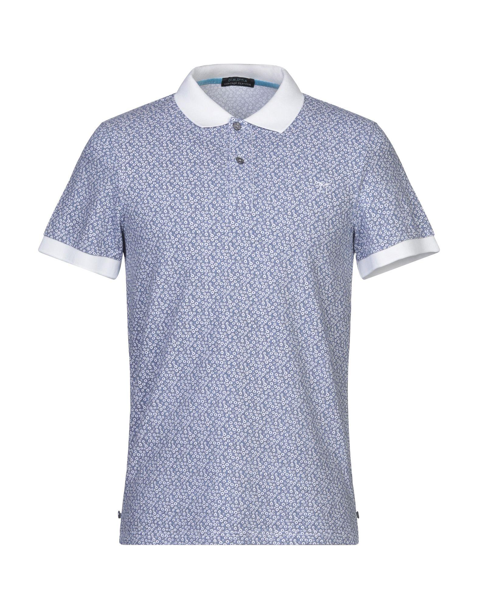 《セール開催中》DIMATTIA メンズ ポロシャツ ブルー M コットン 95% / ポリウレタン 5%