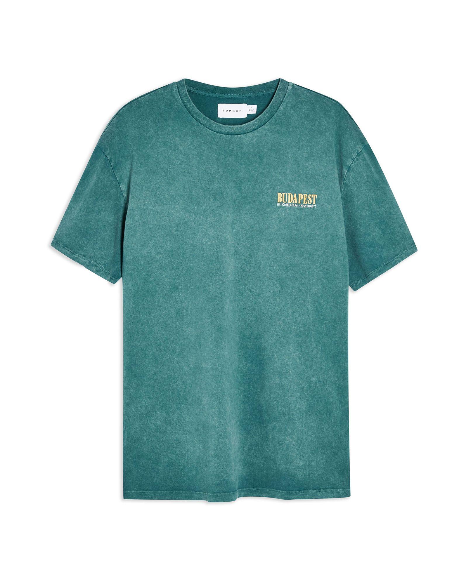 《期間限定セール開催中!》TOPMAN メンズ T シャツ グリーン S コットン 100% TEAL BUDAPEST T-SHIRT