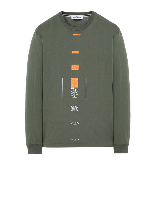 "STONE ISLAND 2ML90""OFFSET"" Long sleeve t-shirt Man Olive Green"