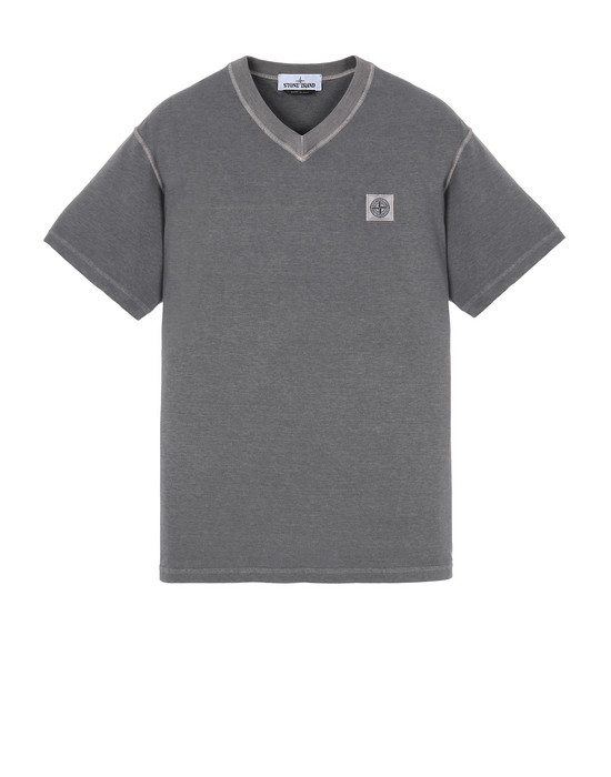 "STONE ISLAND 23857""FISSATO""DYE TREATMENT Short sleeve t-shirt Man Blue Grey"