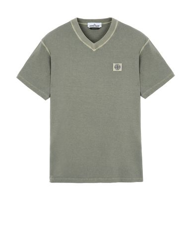"STONE ISLAND 23857""FISSATO""DYE TREATMENT Short sleeve t-shirt Man Olive Green USD 102"