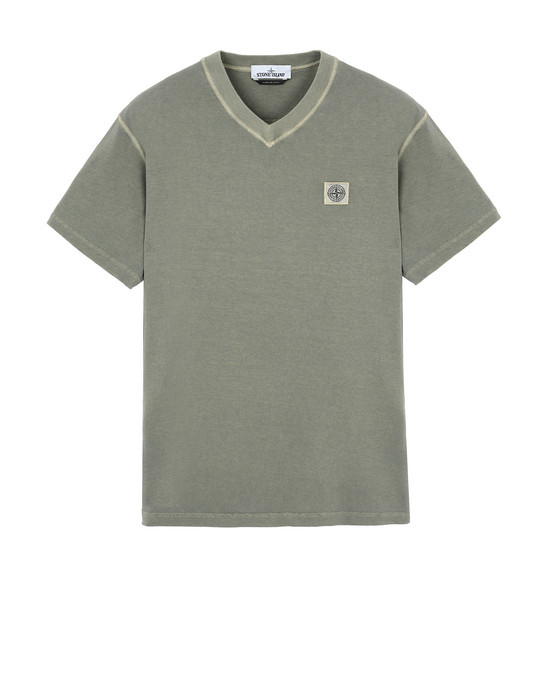 "STONE ISLAND 23857""FISSATO""DYE TREATMENT Short sleeve t-shirt Man Olive Green"