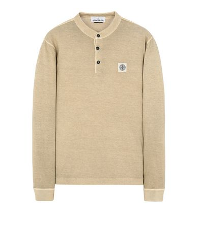 "STONE ISLAND 22157""FISSATO""DYE TREATMENT Long sleeve t-shirt Man Dark Beige USD 113"