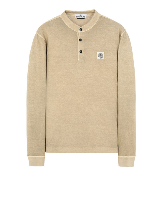 "STONE ISLAND 22157""FISSATO""DYE TREATMENT Long sleeve t-shirt Man Dark Beige"
