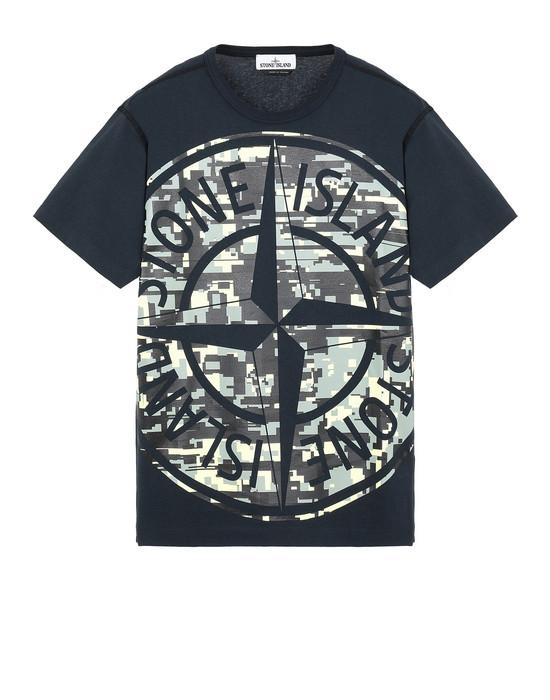 STONE ISLAND 23387 MIXED YARN JACQUARD CAMO T-Shirt Herr Blau