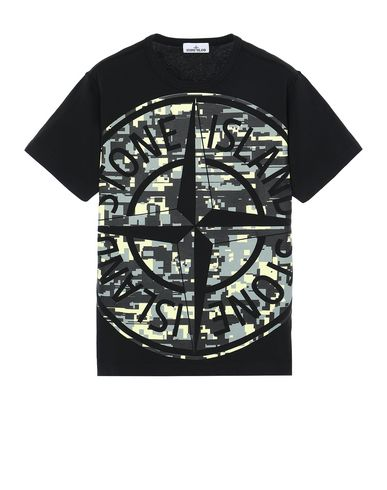 STONE ISLAND 23387 MIXED YARN JACQUARD CAMO Short sleeve t-shirt Man Black EUR 172