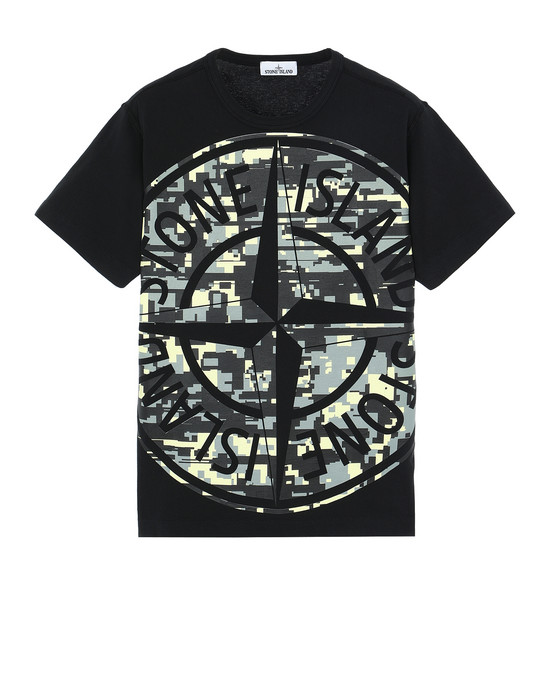 STONE ISLAND 23387 MIXED YARN JACQUARD CAMO Short sleeve t-shirt Man Black