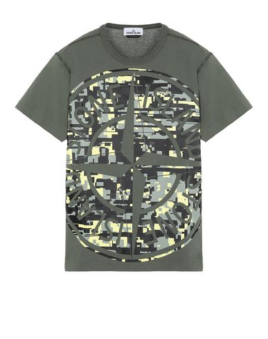 STONE ISLAND 23387 MIXED YARN JACQUARD CAMO Short sleeve t-shirt Man Olive Green USD 160