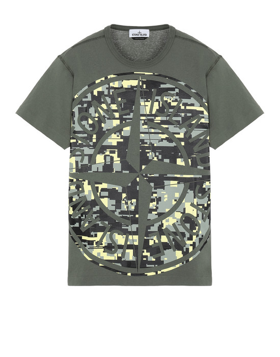 STONE ISLAND 23387 MIXED YARN JACQUARD CAMO Short sleeve t-shirt Man Olive Green
