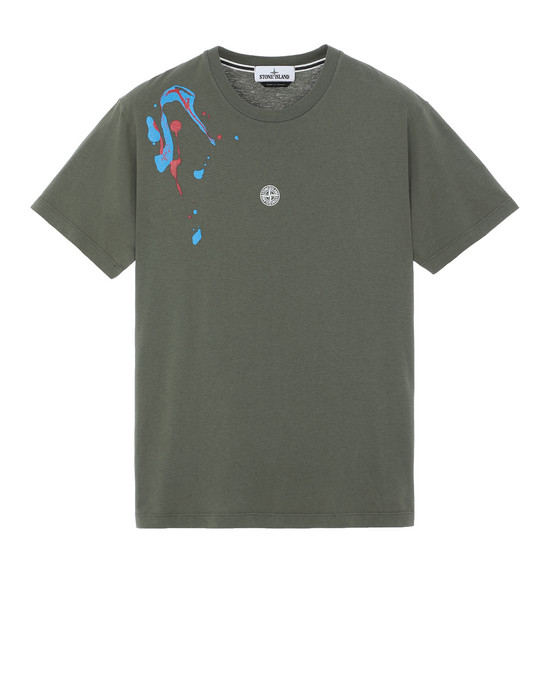 "STONE ISLAND 2NS81""ACQUADRONE TWO"" Short sleeve t-shirt Man Olive Green"