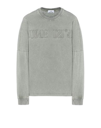 STONE ISLAND 24455 FLECK TREATMENT  Long sleeve t-shirt Man Olive Green EUR 193