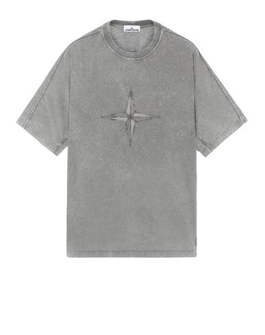 STONE ISLAND 24555 FLECK TREATMENT Short sleeve t-shirt Man Blue Grey EUR 236