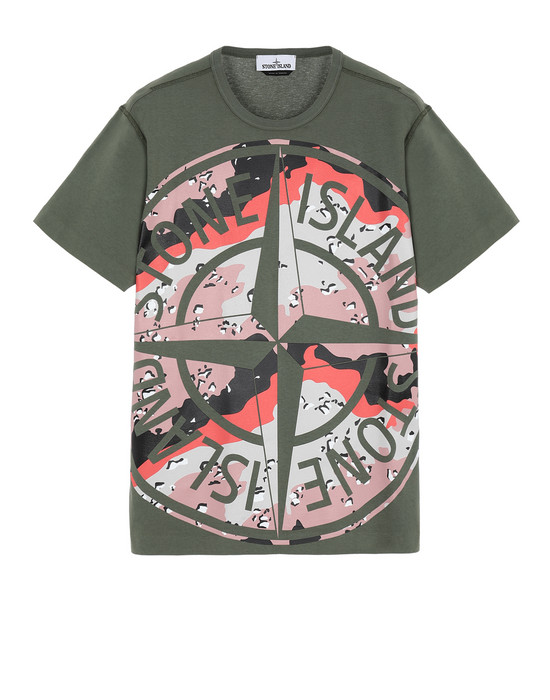STONE ISLAND 23386 DESERT CAMO Short sleeve t-shirt Man Olive Green