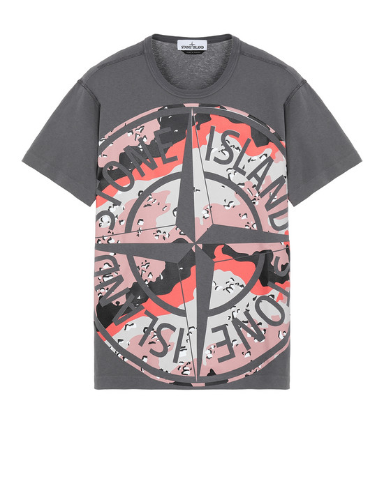 STONE ISLAND 23386 DESERT CAMO 반소매 티셔츠 남성 블루 그레이