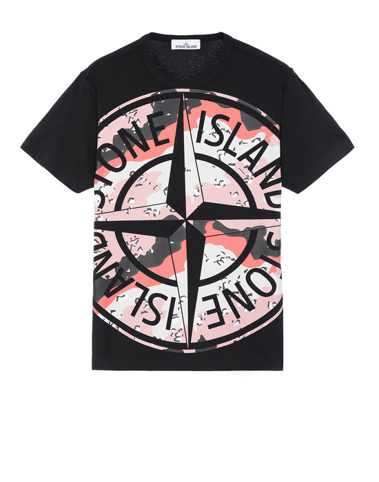 STONE ISLAND 23386 DESERT CAMO Short sleeve t-shirt Man Black