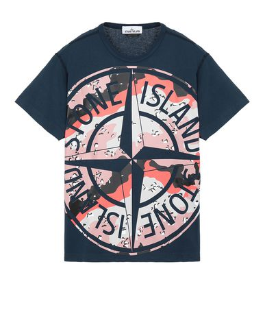 STONE ISLAND 23386 DESERT CAMO 短袖 T 恤 男士 海蓝色 EUR 126