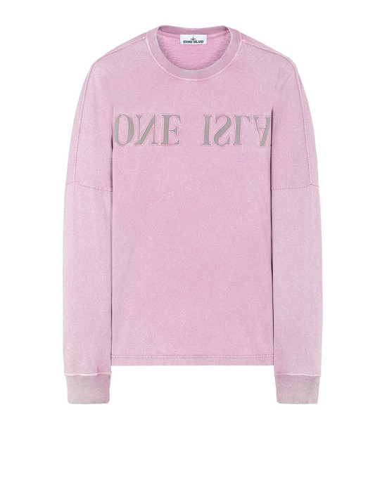 STONE ISLAND 24455 FLECK TREATMENT  Long sleeve t-shirt Man Pink Quartz