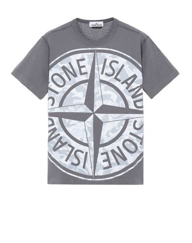 STONE ISLAND 23391 BIG LOOM Short sleeve t-shirt Man Blue Grey USD 158