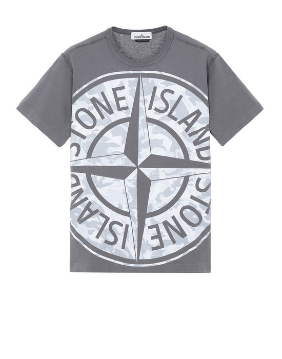 STONE ISLAND 23391 BIG LOOM Short sleeve t-shirt Man Blue Grey