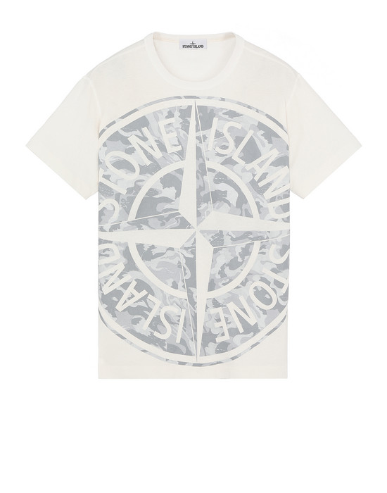 STONE ISLAND 23391 BIG LOOM Short sleeve t-shirt Man Ivory