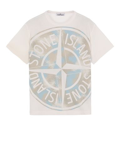 STONE ISLAND 23388 CAMO DÉVORÉ Short sleeve t-shirt Man Ivory EUR 163