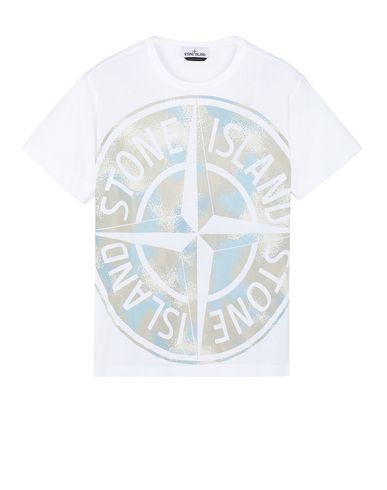 STONE ISLAND 23388 CAMO DÉVORÉ Short sleeve t-shirt Man White USD 120