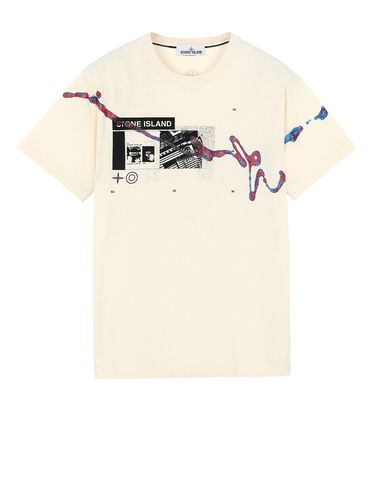 "STONE ISLAND 2NS80""ACQUADRONE ONE"" Short sleeve t-shirt Man Beige USD 155"