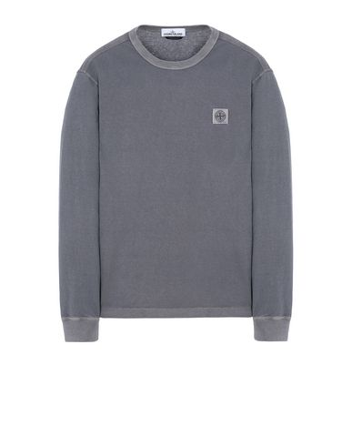 STONE ISLAND 22057 'FISSATO' DYE TREATMENT Long sleeve t-shirt Man Blue Grey EUR 138