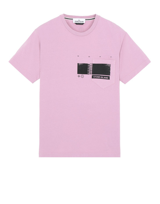 "STONE ISLAND 24685""DRONE THREE"" Short sleeve t-shirt Man Pink Quartz"