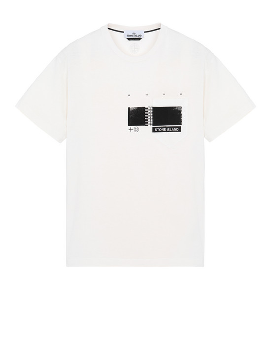 "STONE ISLAND 24685""DRONE THREE"" Short sleeve t-shirt Man DUST MELANGE"