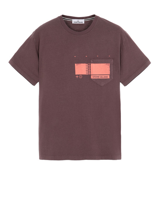 "STONE ISLAND 24685""DRONE THREE"" Short sleeve t-shirt Man MAHOGANY BROWN"