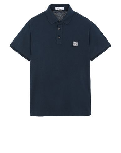 "STONE ISLAND 22257""FISSATO""DYE TREATMENT Polo shirt Man Marine Blue USD 105"