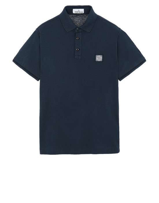 "STONE ISLAND 22257""FISSATO""DYE TREATMENT Polo shirt Man Marine Blue"