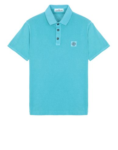 "STONE ISLAND 22257""FISSATO""DYE TREATMENT Polo shirt Man Turquoise EUR 151"