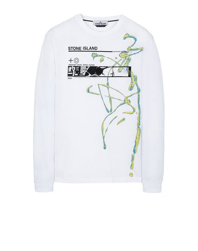 "STONE ISLAND 2ML82""ACQUADRONE THREE"" Long sleeve t-shirt Man White USD 138"
