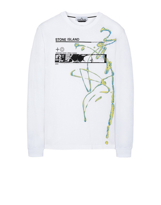 "STONE ISLAND 2ML82""ACQUADRONE THREE"" Long sleeve t-shirt Man White"