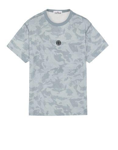 STONE ISLAND 233E7 BIG LOOM CAMO  Short sleeve t-shirt Man Sky Blue EUR 138