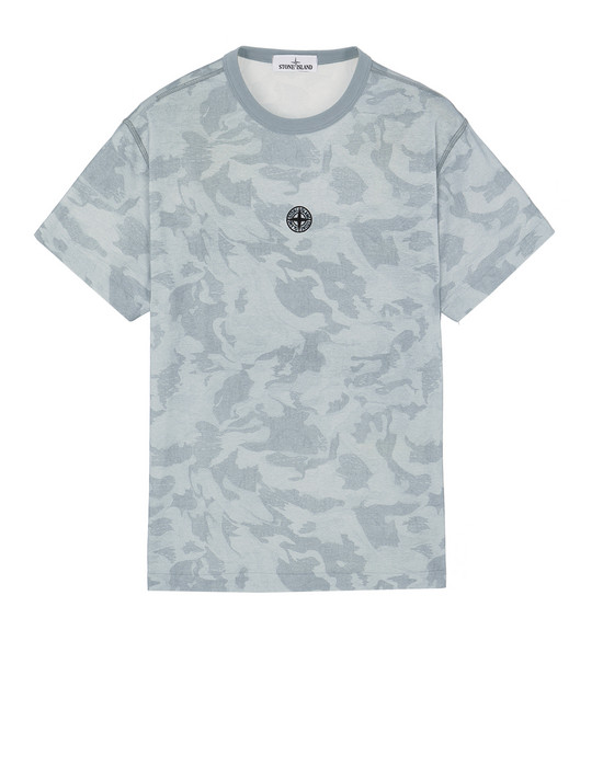 STONE ISLAND 233E7 BIG LOOM CAMO  Short sleeve t-shirt Man Sky Blue