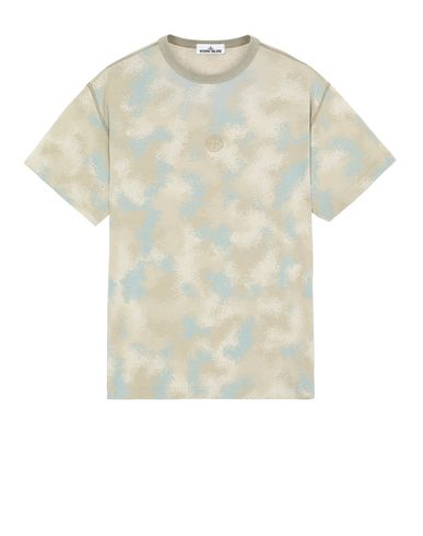 STONE ISLAND 233E8 CAMO DÉVORÉ Short sleeve t-shirt Man Dove Grey EUR 170