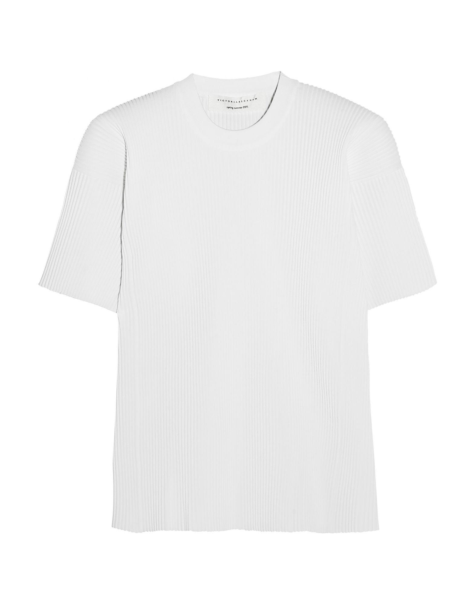 《セール開催中》VICTORIA BECKHAM レディース T シャツ ホワイト 1 レーヨン 78% / ポリエステル 16% / ナイロン 5% / ポリウレタン 1%