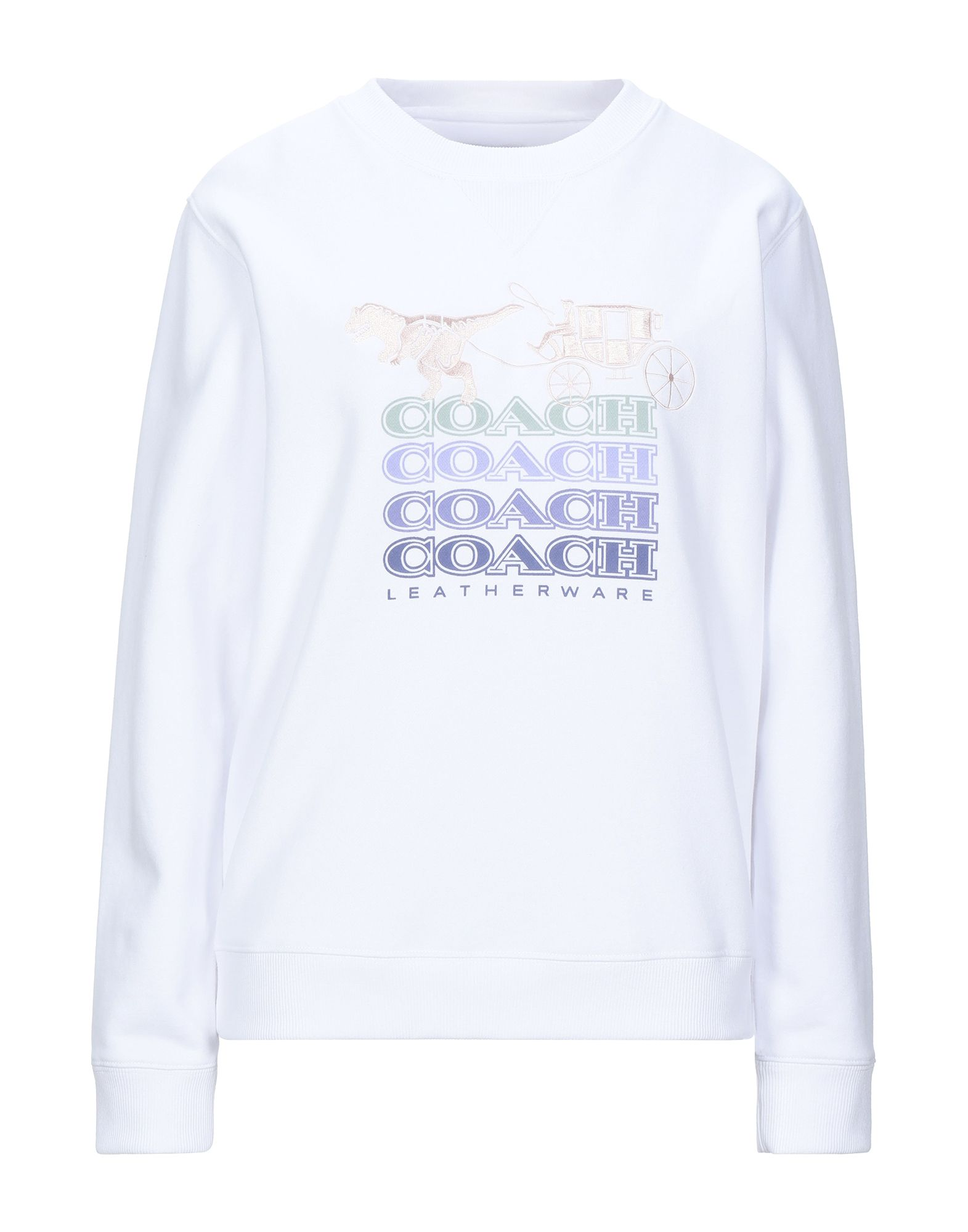 COACH Sweatshirts. logo, embroidered detailing, solid color, round collar, long sleeves, no pockets, fleece lining. 60% Cotton, 40% Polyester, Elastane