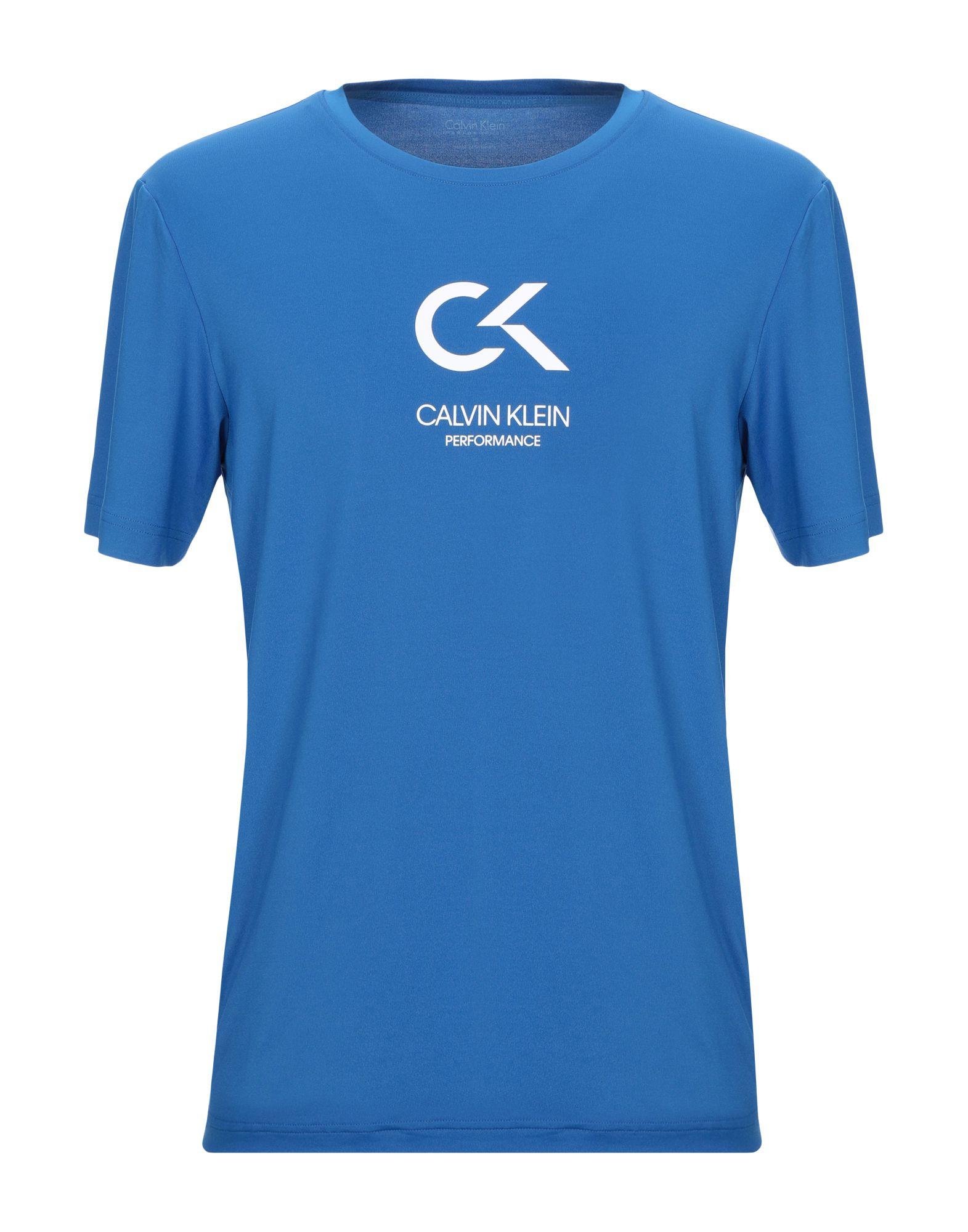 《セール開催中》CALVIN KLEIN PERFORMANCE メンズ T シャツ ブルー M ポリエステル 88% / ポリウレタン 12%