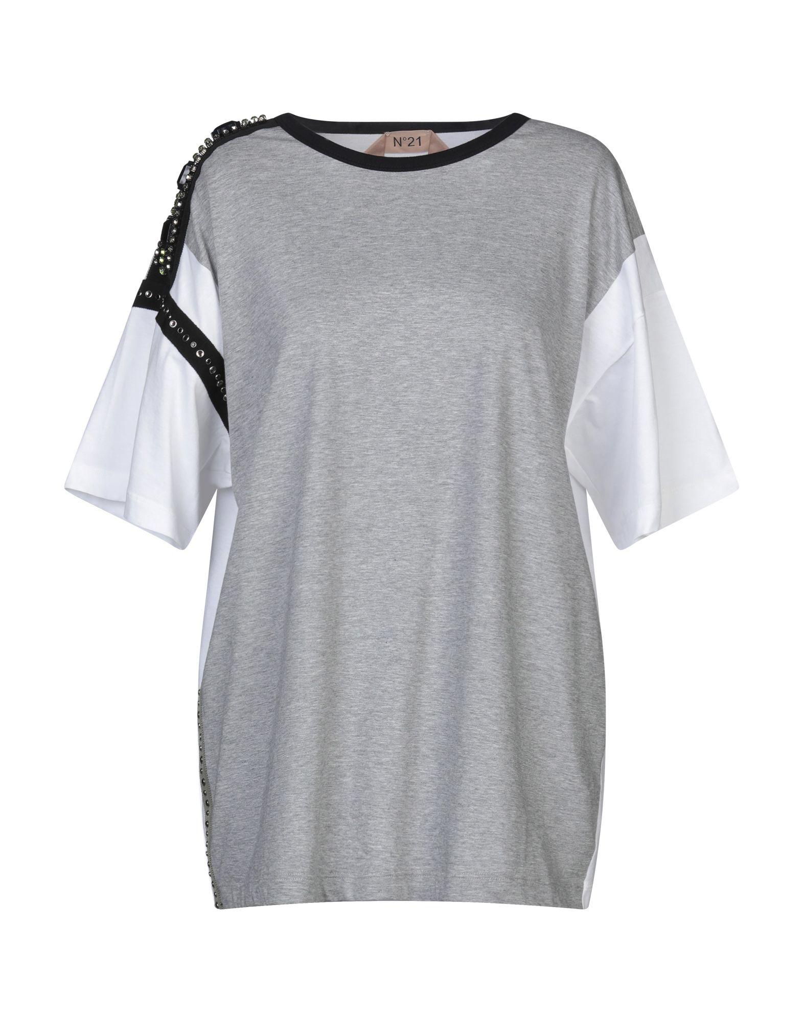 《セール開催中》N°21 レディース T シャツ グレー 40 コットン 100% / レーヨン / 真鍮/ブラス / ガラス