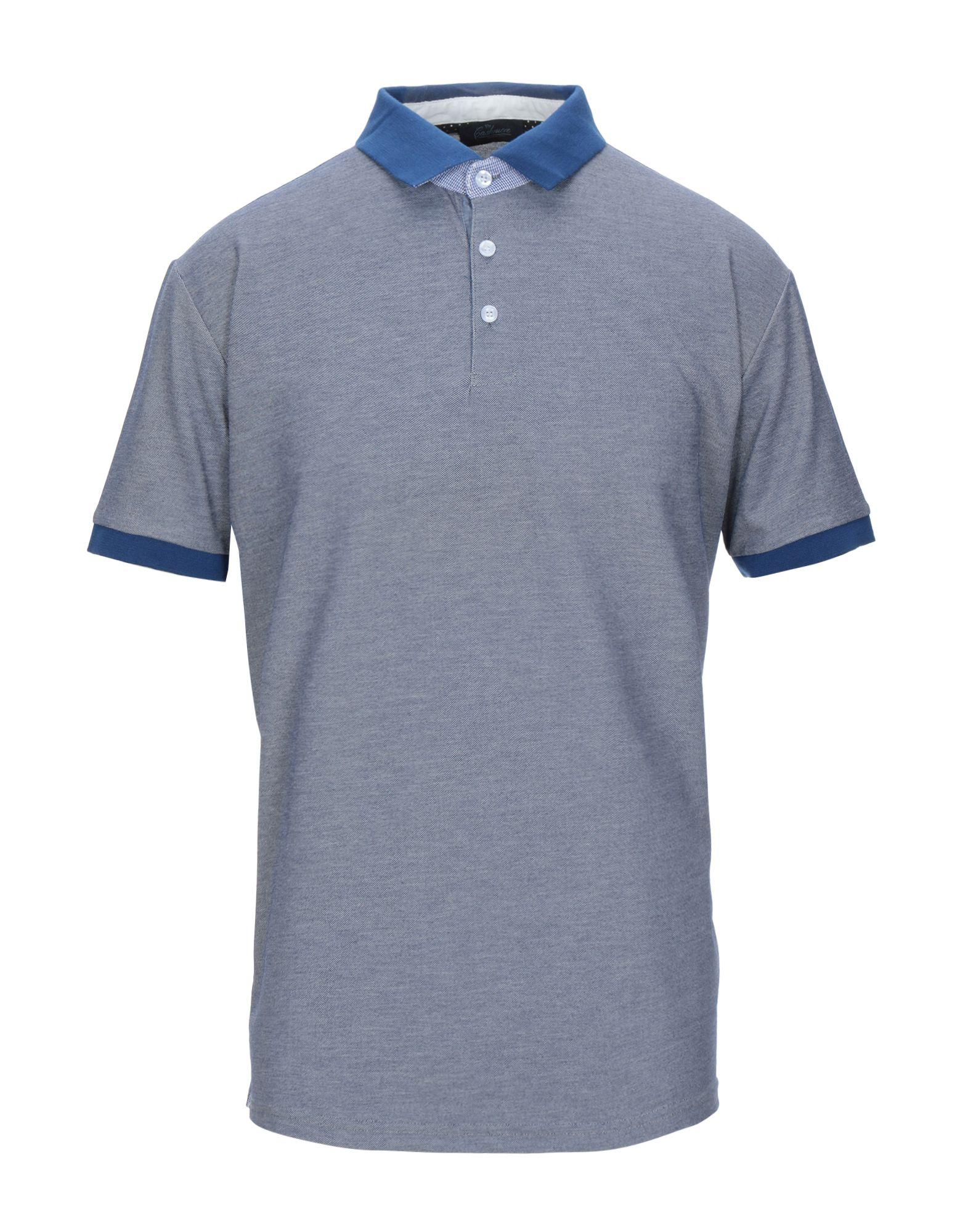 《セール開催中》BLU CASHMERE メンズ ポロシャツ ブルーグレー 46 コットン 80% / シルク 20%