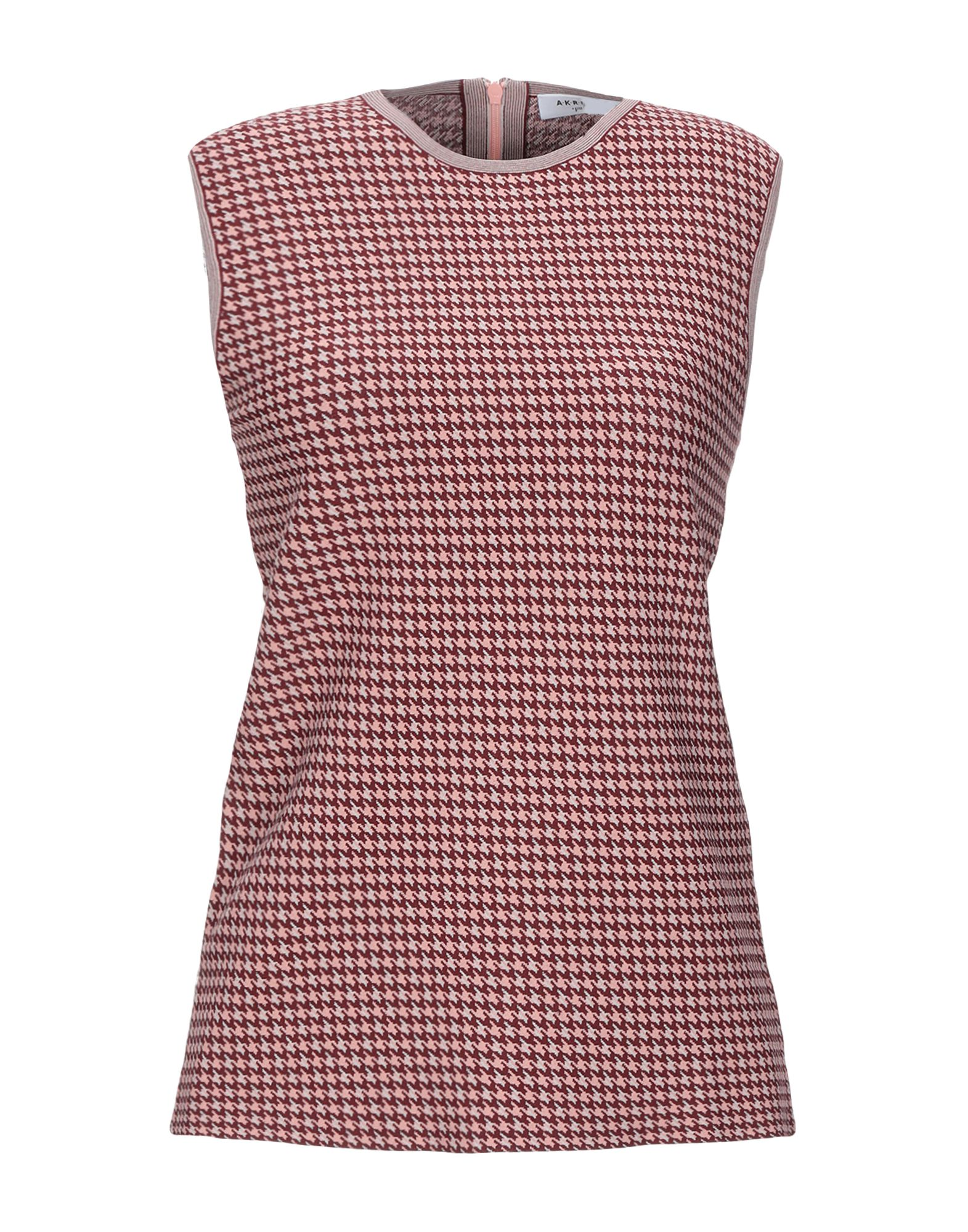 AKRIS PUNTO Tops. knitted, no appliqués, houndstooth, round collar, sleeveless, rear closure, zip, no pockets, unlined. 79% Viscose, 21% Polyester